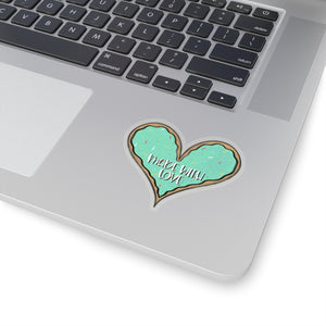 (b) Made With Love Green Heart Kiss-Cut Sticker