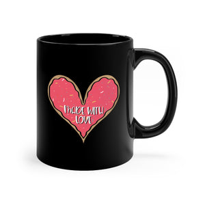 (b) Made With Love Pink Heart Black Mug