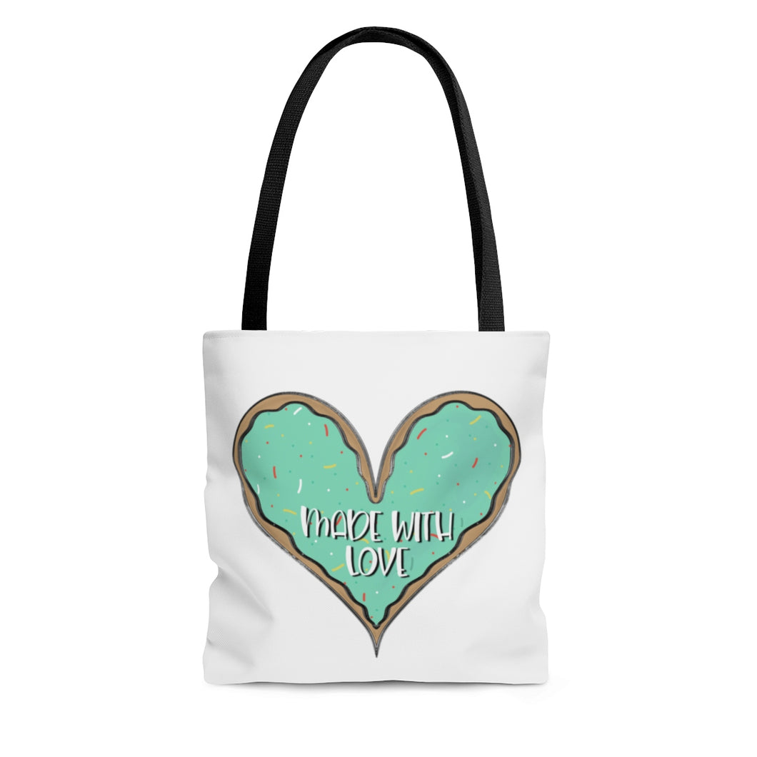 (b) Made With Love Green Heart AOP Tote Bag