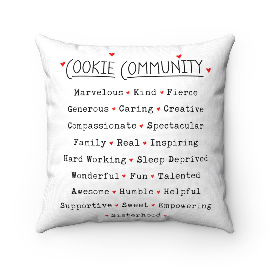 Cookie Community Spun Polyester Square Pillow