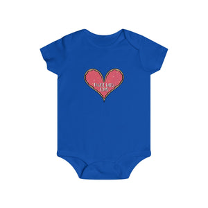 (b) Made With Love Pink Heart Infant Rip Snap Tee
