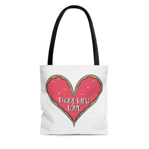 (b) Made With Love Pink Heart AOP Tote Bag
