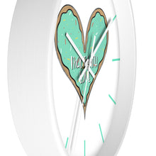 Load image into Gallery viewer, (b) Made With Love Green Heart Wall Clock