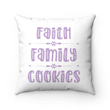 Load image into Gallery viewer, Faith Family Cookies Spun Polyester Square Pillow