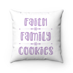 Faith Family Cookies Spun Polyester Square Pillow