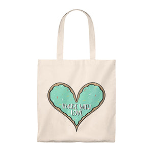 (b) Made With Love Green Heart Tote Bag - Vintage