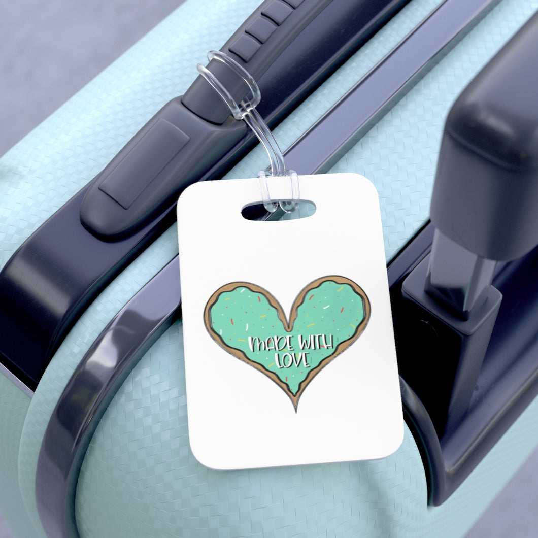 (b) Made With Love Green Heart Bag Tag