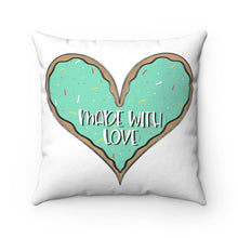 Load image into Gallery viewer, (b) Made With Love Green Heart Spun Polyester Square Pillow