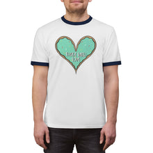 Load image into Gallery viewer, (b) Made With Love Green Heart Unisex Ringer Tee