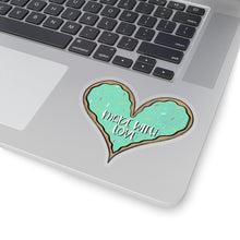 Load image into Gallery viewer, (b) Made With Love Green Heart Kiss-Cut Sticker