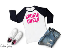 Load image into Gallery viewer, Cookie Queen Bella+Canva 3200 Unisex 3/4 Sleeve Baseball Tee