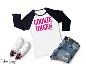 Cookie Queen Bella+Canva 3200 Unisex 3/4 Sleeve Baseball Tee