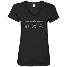 Load image into Gallery viewer, I'm A Simple Woman 88VL Anvil Ladies' V-Neck T-Shirt