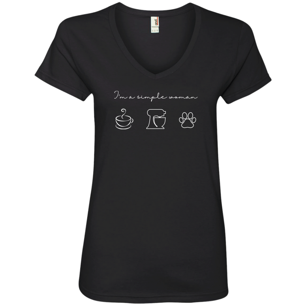 I'm A Simple Woman 88VL Anvil Ladies' V-Neck T-Shirt