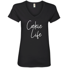 Load image into Gallery viewer, Cookie Life (White) 88VL Anvil Ladies' V-Neck T-Shirt