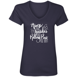 (a) Mixer Spatulas Rolling Pins Oh My! 88VL Ladies' V-Neck T-Shirt