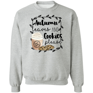 (a) Autumn Leaves and Cookies Please Crewneck Pullover Sweatshirt