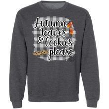 Load image into Gallery viewer, (a) Autumn Leaves and Cookies Please Gingham Crewneck Pullover Sweatshirt