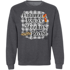 (a) Autumn Leaves and Cookies Please Gingham Crewneck Pullover Sweatshirt
