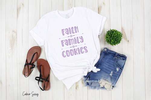 Faith Family Cookies Purple Bella+Canvas 3001 Unisex Jersey Short Sleeve Tee