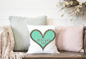 (b) Made With Love Green Heart Spun Polyester Square Pillow