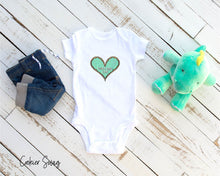 Load image into Gallery viewer, (b) Made With Love Green Heart Infant Rip Snap Tee