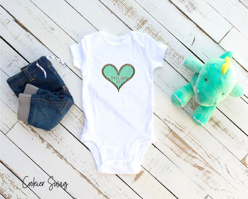 (b) Made With Love Green Heart Infant Rip Snap Tee