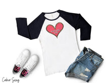 Load image into Gallery viewer, (b) Made With Love Pink Heart Bella+Canvas 3200 Unisex 3/4 Sleeve Baseball Tee