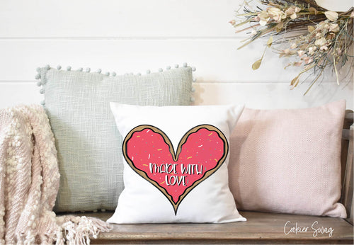 (b) Made With Love Pink Heart Spun Polyester Square Pillow