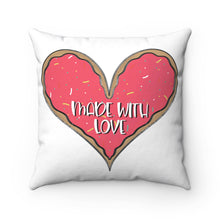 Load image into Gallery viewer, (b) Made With Love Pink Heart Spun Polyester Square Pillow
