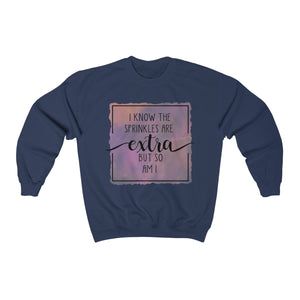 (a) I Know Sprinkles are Extra Color Unisex Heavy Blend™ Crewneck Sweatshirt