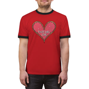(b) Made With Love Pink Heart Unisex Ringer Tee