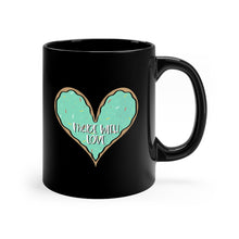 Load image into Gallery viewer, (b) Made With Love Green Heart Black Mug