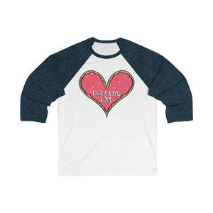 (b) Made With Love Pink Heart Bella+Canvas 3200 Unisex 3/4 Sleeve Baseball Tee