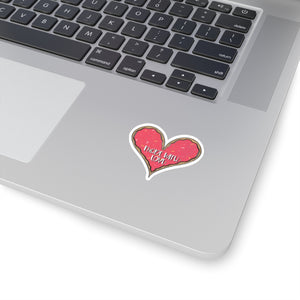 (b) Made With Love Pink Heart Kiss-Cut Sticker