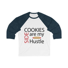 Load image into Gallery viewer, Cookies are my Side Hustle Bella+Canvas 3200 Unisex 3/4 Sleeve Baseball Tee