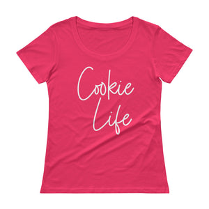 Cookie Life White Ladies' Scoopneck T-Shirt Anvil 391A