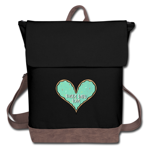 (b) Made With Loved Green Heart Canvas Backpack - black/brown