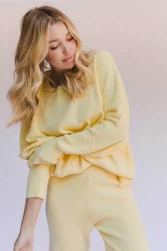 THE LULLABY CLUB ALEX KNIT SWEATER LEMON