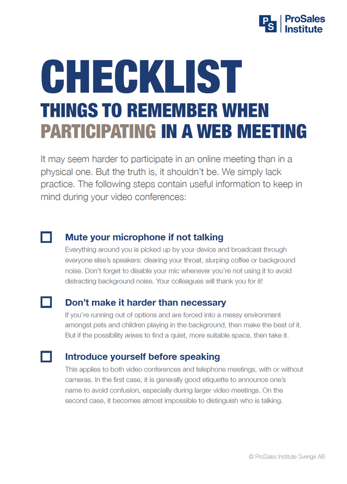 Things to Remember When Participating in a Web Meeting