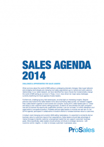 Sales Agenda 2014: Summarized Version (English)