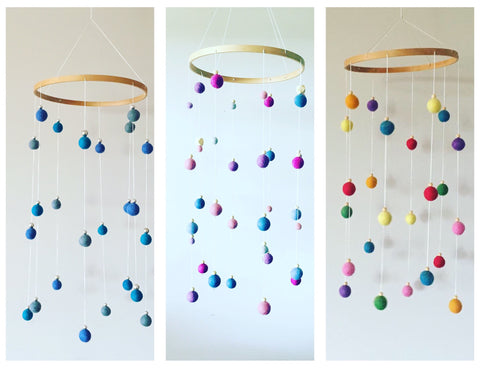 Felt Ball Mobiles plus free gift- silicone nursing necklace or keyring