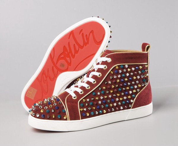 Burgundy and Gold Red Bottom High Tops