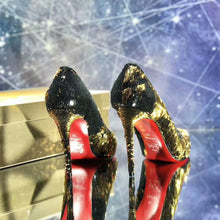Load image into Gallery viewer, Black and Gold Sequined Red Bottoms