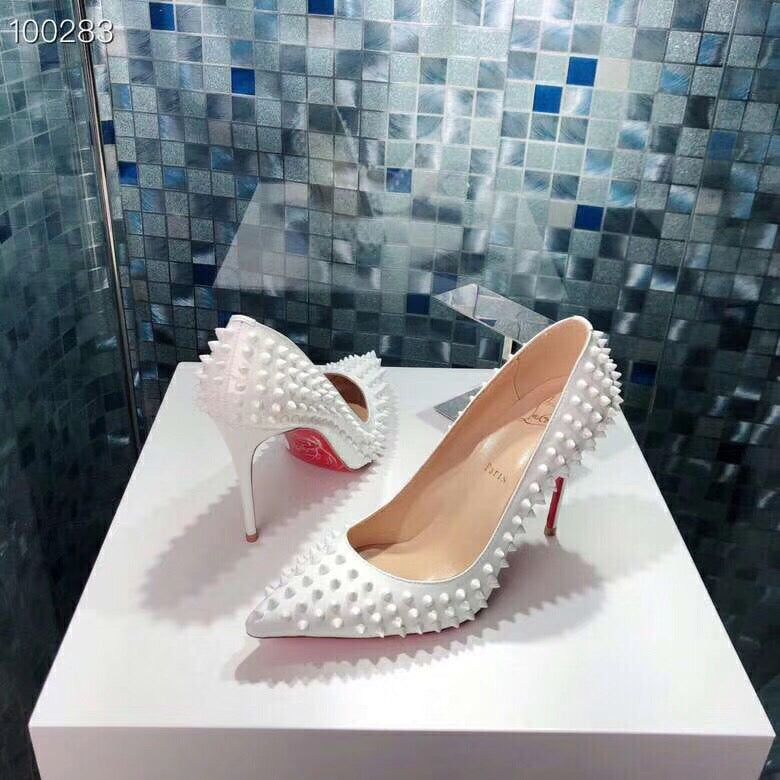 White on White Red Bottom Heels