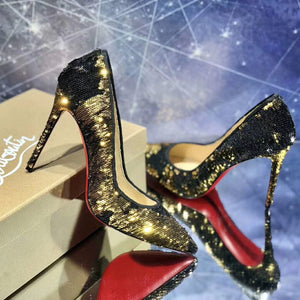 Black and Gold Sequined Red Bottoms