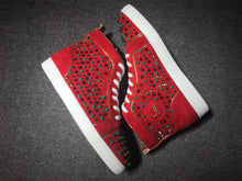 Load image into Gallery viewer, Burgundy and Gold Red Bottom High Tops