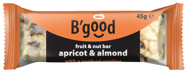 B'good Yoghurt Coated Apricot and Almond Fruit and Nut Bar - Case Price (16x45g)
