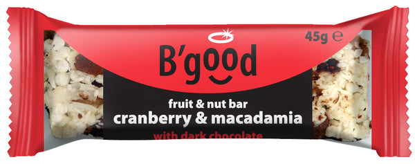 B'good Dark Chocolate Cranberry and Macadamia Fruit and Nut Bar - (45g)