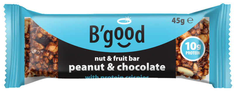 B'good Peanut and Chocolate Nut and Fruit (10g Protein) Bar - Case Price (16x45g)